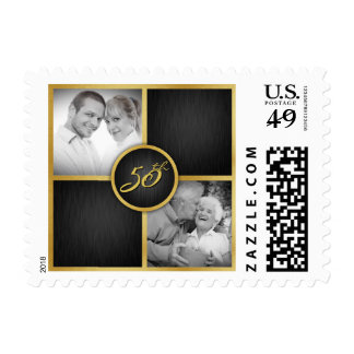 Elegant Black and Gold 50th Wedding Anniversary Postage Stamp