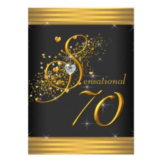 Elegant Black and Gold 70th Birthday Party Custom Invites