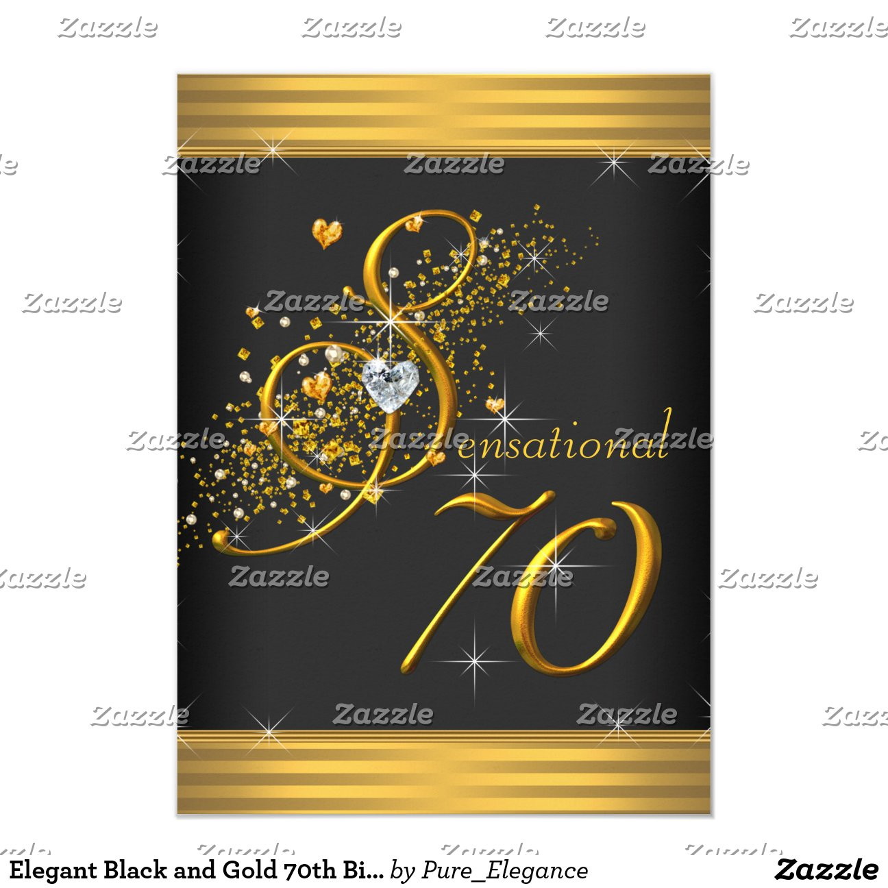 Elegant Black And Gold 70th Birthday Party 4 5x6 25 Paper