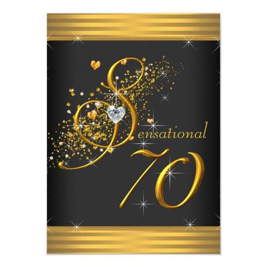 Elegant Black And Gold 70th Birthday Party Invitation