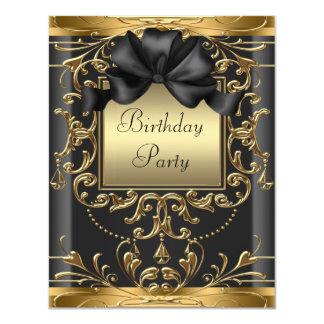 Elegant Black and Gold Art Deco Birthday Party Card