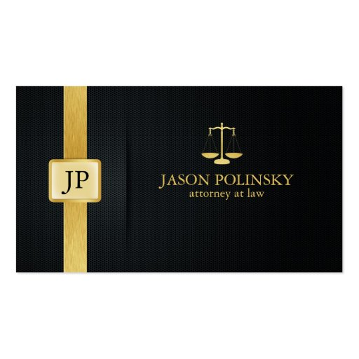 Elegant Black and Gold Attorney At Law Business Card Templates