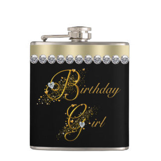 Elegant Black and Gold Birthday Hip Flasks