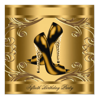 Elegant Black and Gold Birthday Party 5.25x5.25 Square Paper Invitation Card
