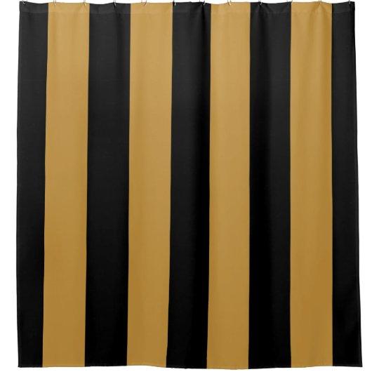Elegant Black And Gold Bold Vertical Stripes Shower Curtain