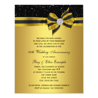 """Elegant Black and Gold Bow 50th Anniversary Party 4.25"""" X 5.5"""" Invitation Card"""