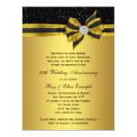 Elegant Black and Gold Bow 50th Anniversary Party Personalized Invitation
