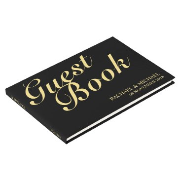 manadesignco Elegant Black and Gold Calligraphy Wedding Guest Book