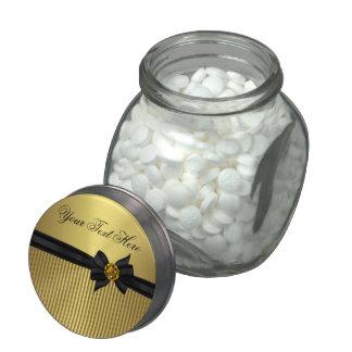 Elegant Black And Gold Candy and Mint Custom Glass Candy Jar