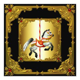 Elegant Black and Gold Carousel Horse Card