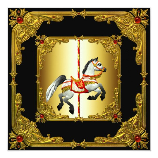 Elegant Black and Gold Carousel Horse Card