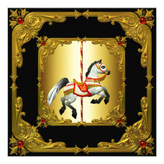 Elegant Black and Gold Carousel Horse Invitations