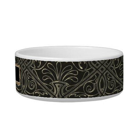 Elegant Black and Gold Celtic Knot Pet Dish