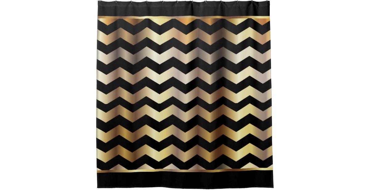 elegant black and gold chevron stripes shower curtain zazzle