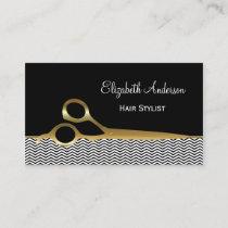 Elegant Black and Gold Chevrons Hair Salon Business Card