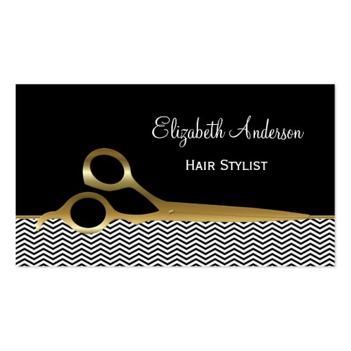 Elegant Black And Gold Chevrons Hair Salon Double Sided Standard Business Cards Pack Of 100
