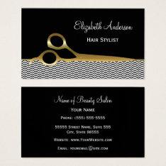 Elegant Black And Gold Chevrons Hair Salon Business Card at Zazzle