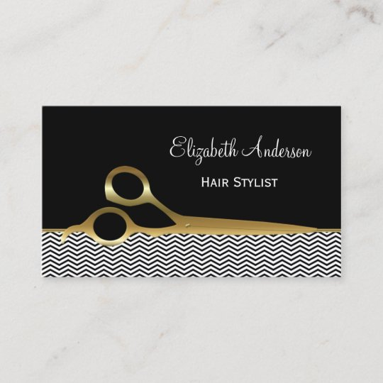 carte de visite coiffure Elegant Black and Gold Chevrons Hair Salon Business Card | Zazzle.com