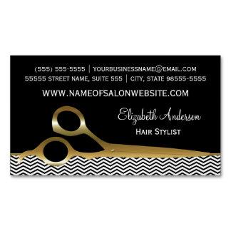 Elegant Black and Gold Chevrons Hair Salon Magnetic Business Card