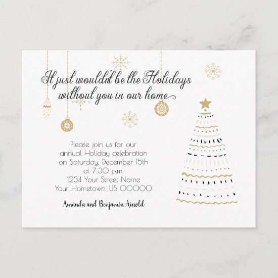 Elegant Black and Gold Christmas Holiday Party Postcard