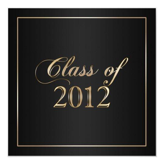 Elegant Black and Gold Class of 2012 Invitation