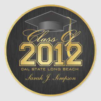 Elegant Black and Gold Class of 2012 Stickers