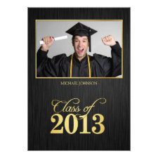 Elegant black and gold Class of 2013 Graduation Personalized Invitation