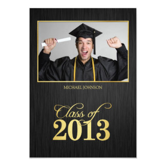 Elegant black and gold Class of 2013 Graduation 5x7 Paper Invitation Card