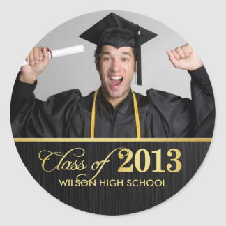 Elegant black and gold Class of 2013 Graduation Stickers