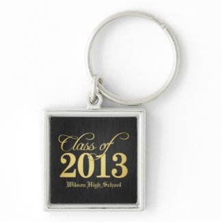 Elegant Black and Gold Class of 2013 key-chains Key Chains