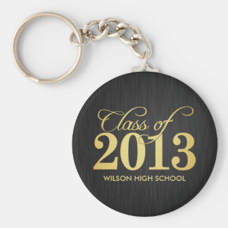 Elegant Black and Gold Class of 2013 key-chains Keychain