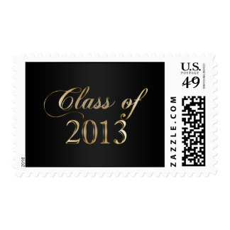 Elegant Black and Gold Class of 2013 Stamp