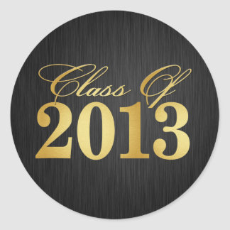Elegant Black and Gold Class of 2013 Round Sticker