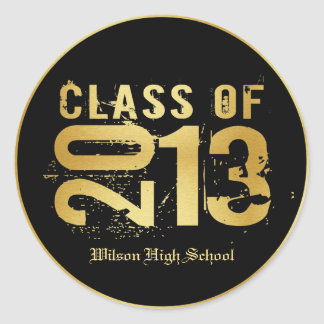 Elegant Black and Gold Class of 2013 Round Stickers
