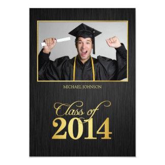 Elegant black and gold Class of 2014 Graduation 5x7 Paper Invitation Card