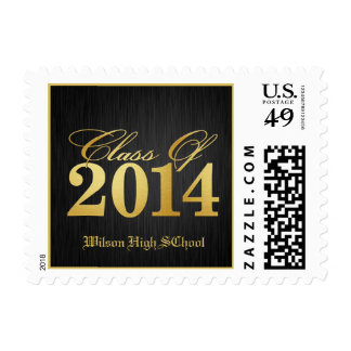 Elegant Black and Gold Class of 2014 Postage