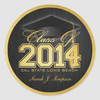 Elegant Black and Gold Class of 2014 Stickers