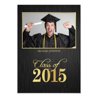 Elegant black and gold Class of 2015 Graduation 5x7 Paper Invitation Card