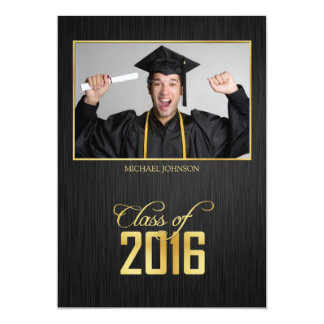 Elegant black and gold Class of 2016 Graduation 5x7 Paper Invitation Card