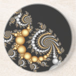 "Elegant Black and Gold Coaster<br><div class=""desc"">Elegant abstract fractal design of spiraling gold and white beads on a black background. Beautiful design to accent any home or office.</div>"