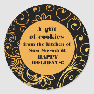 Elegant Black and Gold Cookie Tin Labels