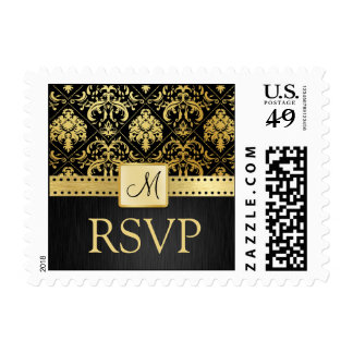 Elegant Black and Gold Damask Save the Date Postage Stamp