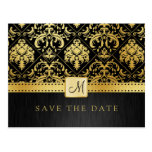Elegant Black and Gold Damask Save the Date Post Cards