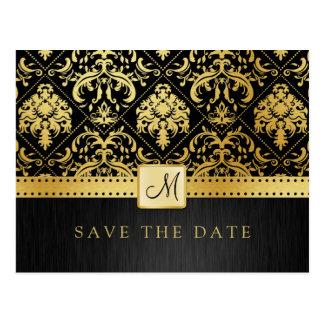 Elegant Black and Gold Damask Save the Date Postcard