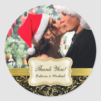 Elegant Black and Gold Damask Thank You Classic Round Sticker