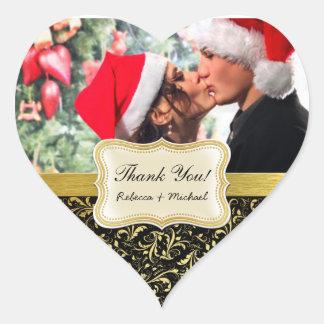 Elegant Black and Gold Damask Thank You Heart Sticker