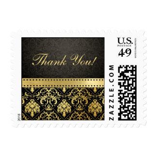 Elegant Black and Gold Damask Thank You Stamp