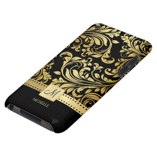 Elegant Black and Gold Damask wiht Monogram Barely There iPod Cover