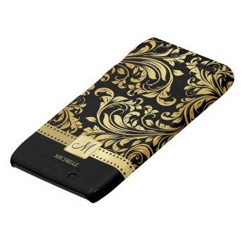 Elegant Black and Gold Damask wiht Monogram Motorola Droid RAZR Cover