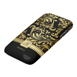 Elegant Black and Gold Damask wiht Monogram Case-Mate iPhone 3 Case